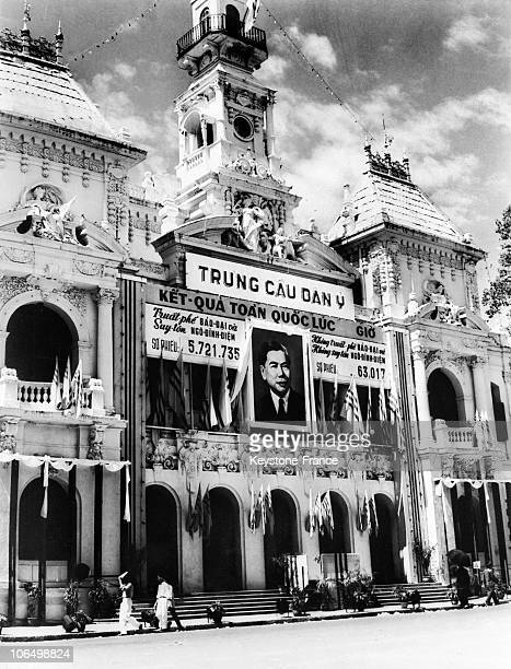 Portrait Of The New Head Of The South Vietnamese State Ngo Dinh Diem Was Displayed On The Facade Of Saigon'S Town Hall On November 2 The Day After...