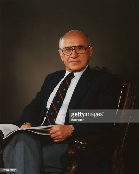 Portrait of the noted American economist Milton Friedman , New York, 1986. Professor Friedman was awarded the Nobel Prize in Economic Sciences in...