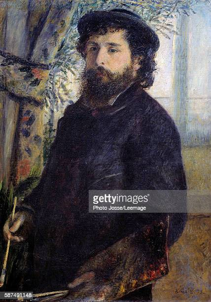 Portrait of the painter Claude Monet Painting by Pierre Auguste Renoir 1875 085 x 06 m Orsay Museum Paris