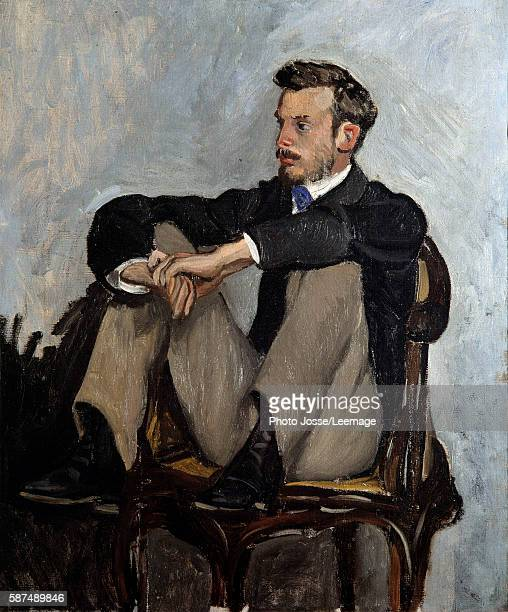 Portrait of the painter Pierre Auguste Renoir Painting by Jean Frederic Bazille 1867 062 x 051 m Orsay Museum Paris