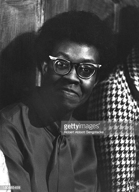Portrait of the poet Gwendolyn Brooks taken during a gathering of friends family and fellow literary figures to celebrate her 50th birthday at her...