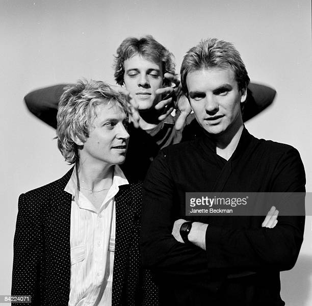 Portrait of the popular rock group 'The Police' From left to right Andy Summers Stewart Copeland and Sting 1978 London