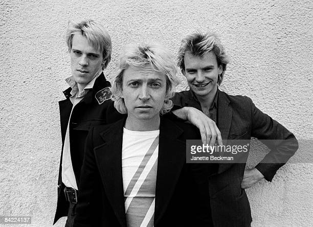 Portrait of the popular rock group 'The Police' From left to right Stewart Copeland Andy Summers and Sting London 1978
