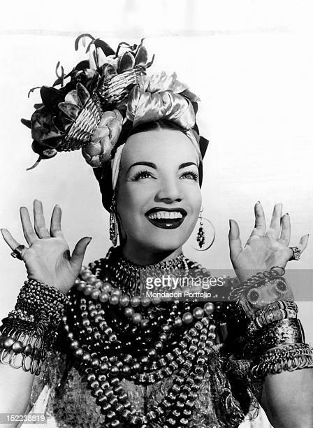 Portrait of the Portuguese actress and dancer Carmen Miranda on the eve of her first European theatrical tour 1945