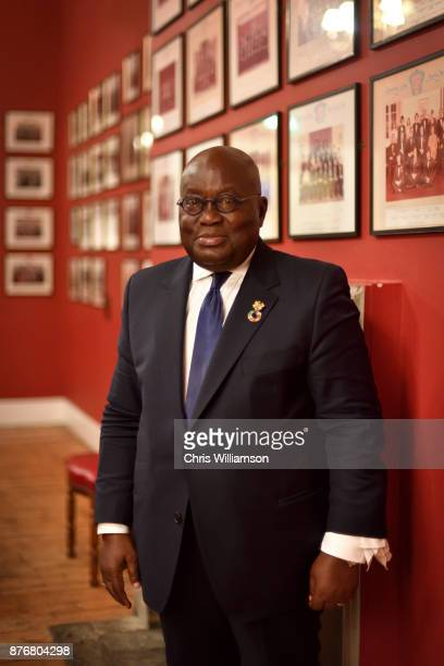 Portrait of the President of Ghana Nana AkufoAddo poses for a photo before addressing The Cambridge Union on November 20 2017 in Cambridge...
