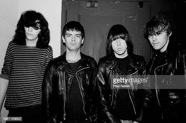 Portrait of the Ramones left to right Joey Ramone Dee Dee Ramone Johnny Ramone and Marky Ramone of the Ramones at the Metro in Chicago Illinois May...