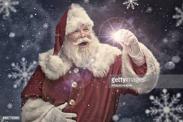 Portrait of the Real Santa Claus creating Christmas Magic