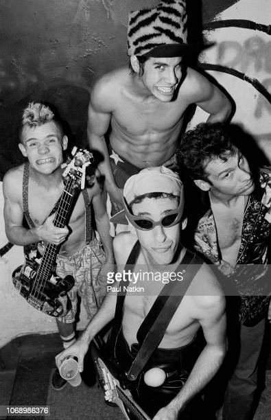 Portrait of the Red Hot Chili Peppers, clockwise from left, Flea, Anthony Kiedis, Chad Smith, and Hillel Slovak at the Metro in Chicago, Illinois,...