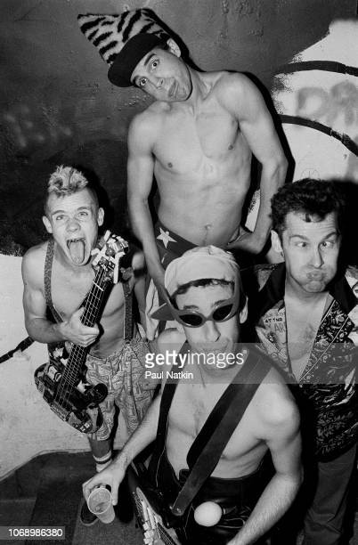 Portrait of the Red Hot Chili Peppers clockwise from left Flea Anthony Kiedis Chad Smith and Hillel Slovak at the Metro in Chicago Illinois October...