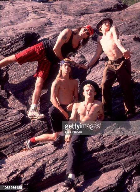 Portrait of the Red Hot Chili Peppers, clockwise from upper left, Chad Smith, John Frusciante, Flea, and Anthony Kiedis in Central Park in New York,...