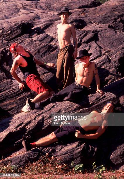 Portrait of the Red Hot Chili Peppers clockwise from upper left Chad Smith John Frusciante Flea and Anthony Kiedis in Central Park in New York New...
