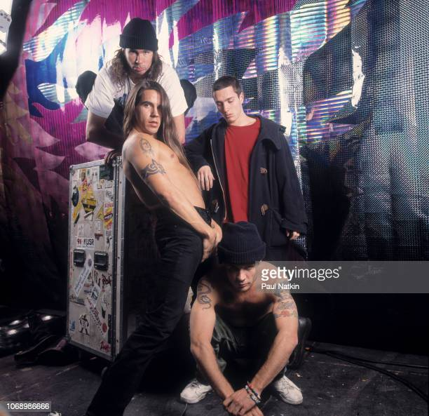 Portrait of the Red Hot Chili Peppers, clockwise from upper left, Chad Smith, John Frusciante, Flea, and Anthony Kiedis at the Aragon Ballroom in...