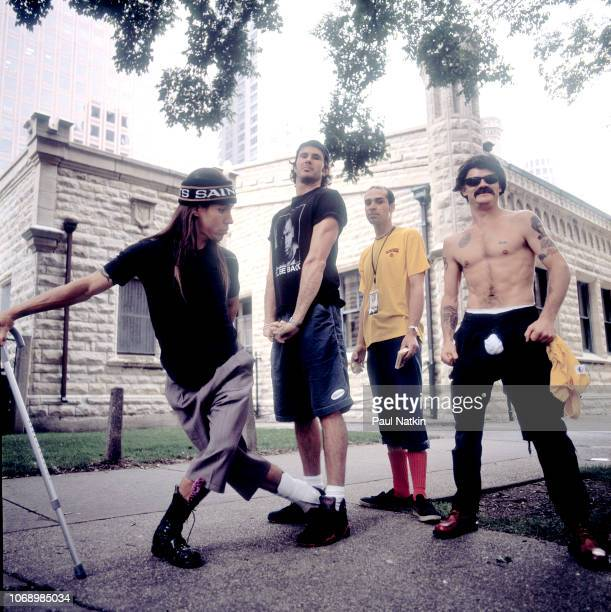 Portrait of the Red Hot Chili Peppers left to right Anthony Kiedis Chad Smith John Frusciante and Flea on the street in Chicago Illinois August 3 1992