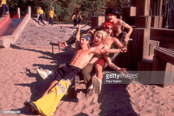 Portrait of the Red Hot Chili Peppers left to right Anthony Kiedis John Frusciante Chad Smith and Flea in Central Park in New York New York October...