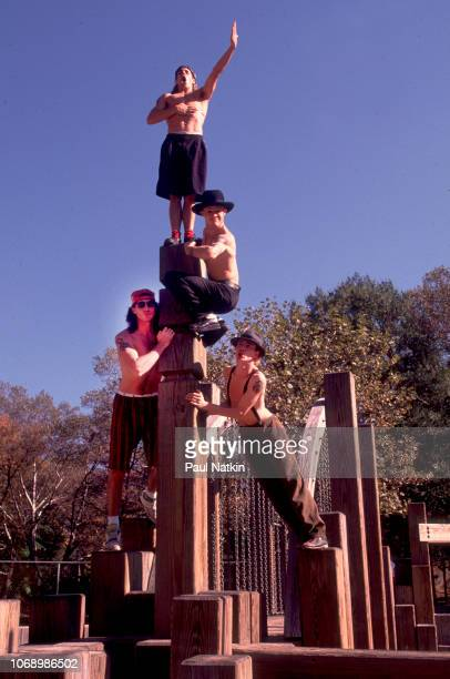 Portrait of the Red Hot Chili Peppers top to bottom Anthony Kiedis John Frusciante Chad Smith and Flea in Central Park in New York New York October...
