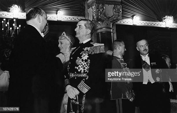 Portrait Of The Regent Miklos Horthy With His Minister During The Ball Of The Knights At Budapest In Hungary During Thirties