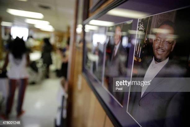 A portrait of the Rev Clementa Pinckney right hangs on a wall in the basement where a mass shooting claimed the lives of nine people at the historic...