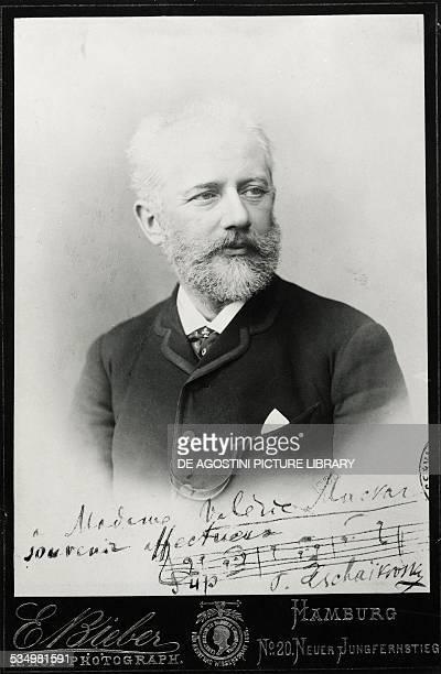 Portrait of the Russian composer Pyotr Ilyich Tchaikovsky photograph with a dedication to Madame Valerie Mackar 19th century Paris Bibliothèque...
