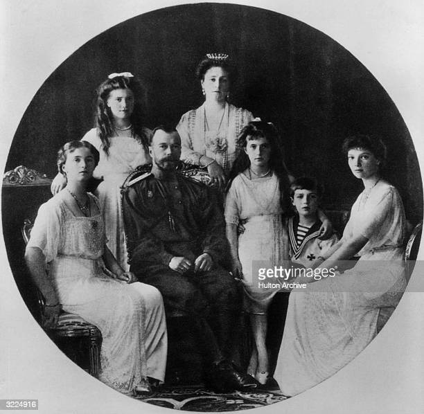 A portrait of the Russian Imperial Family Grand Duchess Olga Grand Duchess Maria Czar Nicholas II Czarina Alexandra Grand Duchess Anastasia Czarevich...