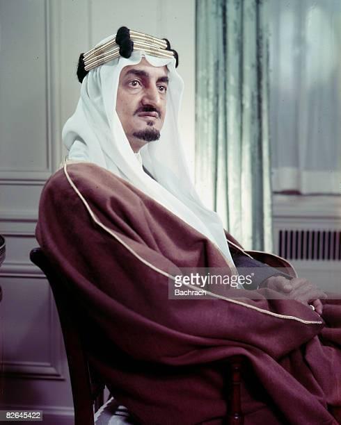 Portrait of the Saudi Arabian King Faisal ibn Abdul Aziz Al Saud wearing a traditional headdress, United States, mid-20th century.