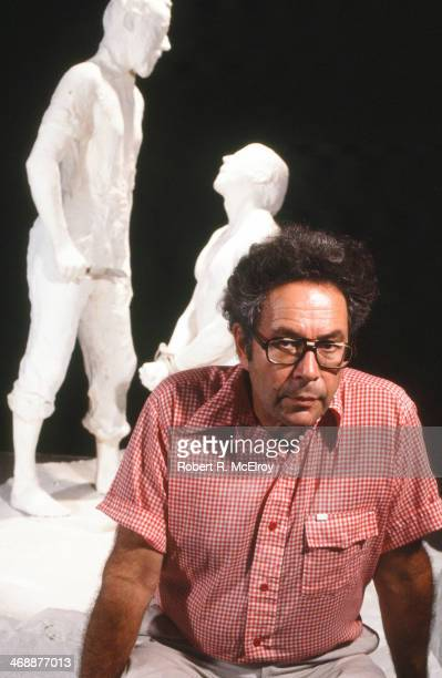 Portrait of the sculptor George Segal with his statue entitled Abraham and Isaac created in memory of the Kent State University shooting in his...