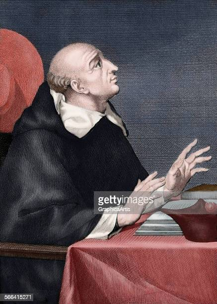 Portrait of the Spanish Dominican theologian Juan de Torquemada engraving circa 1650