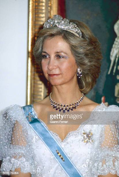 A portrait of the Spanish Queen Sofia in her official trip in Canada Ottawa Canada