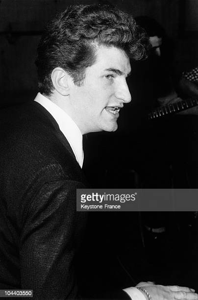 Portrait of the star of French popular song Eddy MITCHELL when he was a singer in the yeye group LES CHAUSSETTES NOIRES .