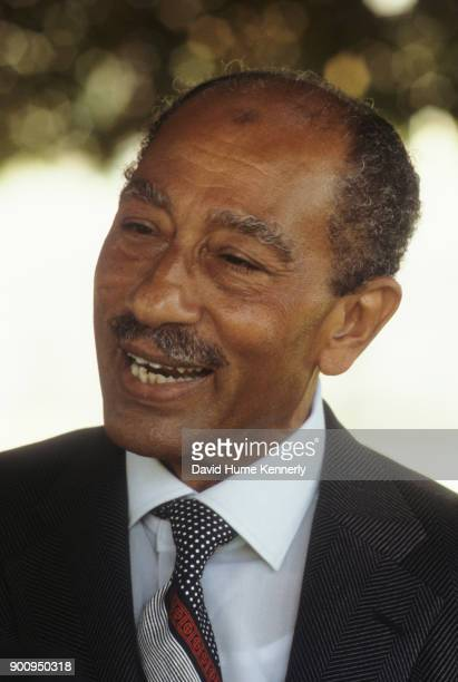 Portrait of the third President of Egypt Anwar Al Sadat Egypt March 1979