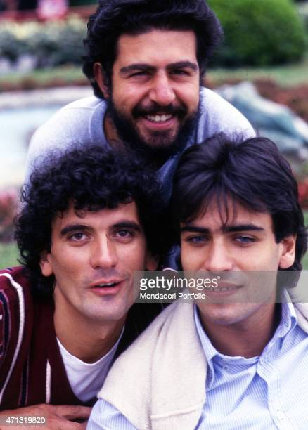 Portrait of the trio formed by Italian comedians Massimo Troisi Lello Arena and Enzo Decaro members of the Neapolitan standup comedy group Smorfia...