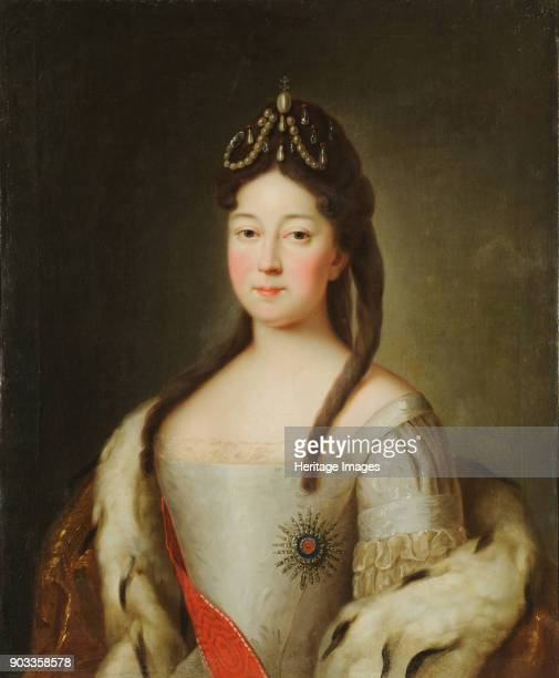 Portrait of the Tsesarevna Anna Petrovna of Russia the daughter of Emperor Peter I of Russia Found in the Collection of State Museum of Architecture...