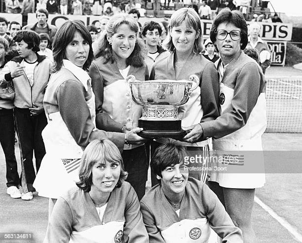 Portrait of the United States tennis team holding the Federation Cup following their victory over Australia at Club Campo in Madrid Spain on May 6th...