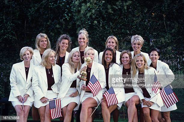 A portrait of the US wives back row left to right Michelle Maggert Tabitha Furyk Alicia O'Meara unknown Ashley Sutton Front row left to right unknown...