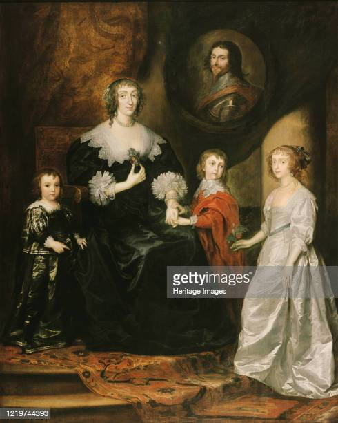 Portrait of the widow of the Duke of Buckingham and her children 1633 Found in the Collection of Rubenshuis Artist Dyck Sir Anthony van