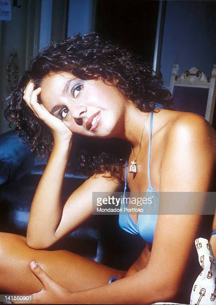 Portrait of the winner of the beauty pageant Miss Italia in 1977 Anna Kanakis. 1977