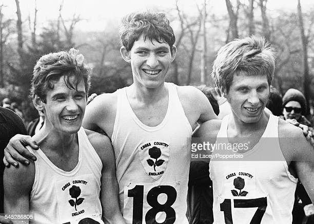 Portrait of the winning English team at the Junior International Cross Country Championships 3rd placed John Harrison winner David Bedford and 2nd...