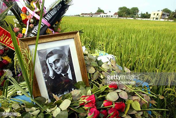 A portrait of the world famous war photographer Robert Capa of the US is seen during a memorial service held 25 May 2004 to mark the 50th anniversary...