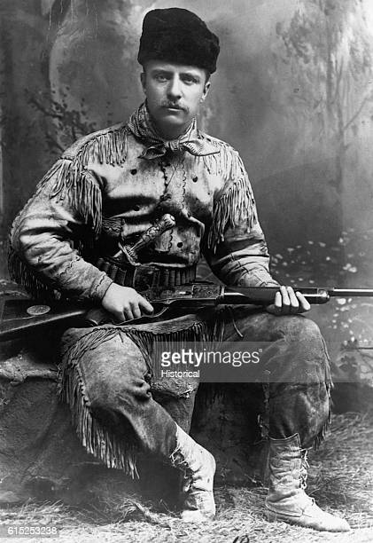 A portrait of Theodore Roosevelt in buckskin without his trademark glasses This portrait is dated 1885 the year he retired to his ranch in the Dakota...