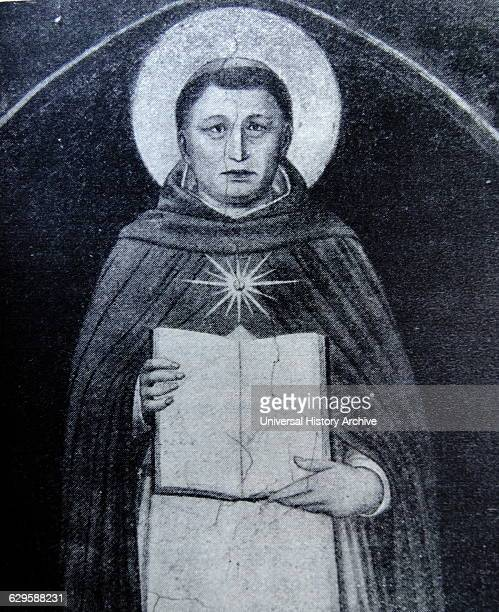 Portrait of Thomas Aquinas Italian Dominican friar and Catholic priest who was an immensely influential philosopher theologian and jurist Dated 13th...