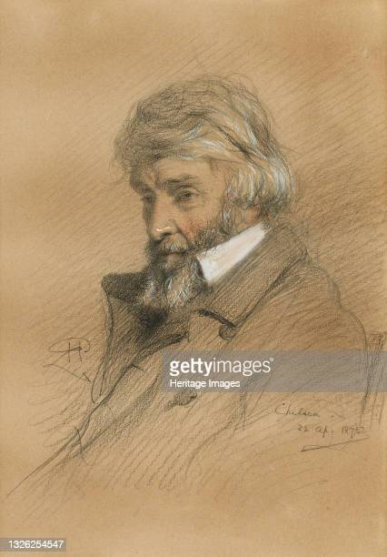 Portrait of Thomas Carlyle , 1875. Private Collection. Artist Herdman, Robert .
