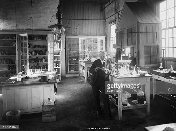 Portrait of Thomas Edison standing in his chemical laboratory at Menlo Park New Jersey Undated photograph