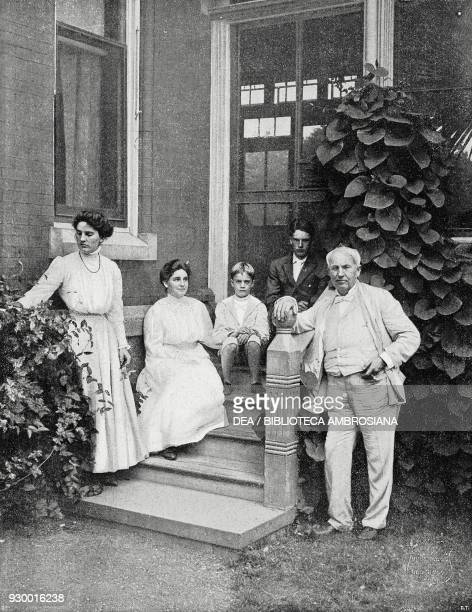Portrait of Thomas Edison with his family in Menlo Park, New Jersey, United States of America, drawing by Underwood and Underwood, from...