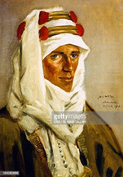 Portrait of Thomas Edward Lawrence known as Lawrence of Arabia English secret agent soldier archaeologist and writer Painting in 1918 by James McBey...
