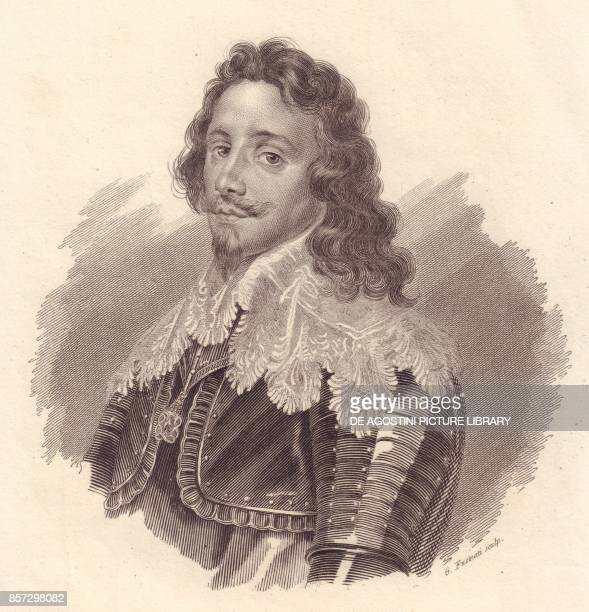Portrait of Thomas Francis of Savoy Prince of Carignano copper engraving by G Fusinati from a painting by Van Dick from Iconografia italiana degli...