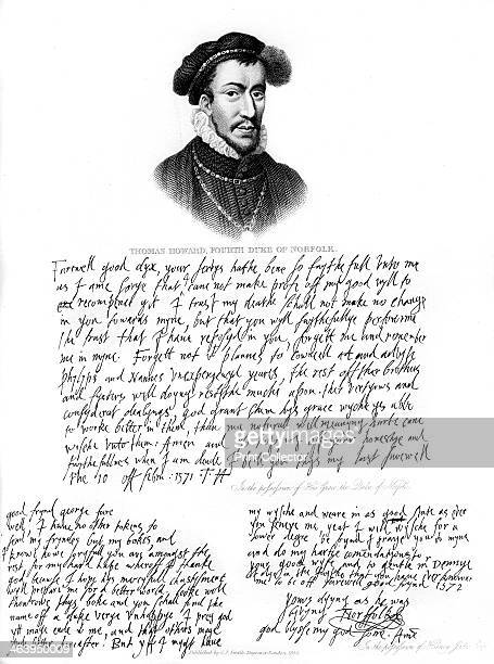 Portrait of Thomas Howard 4th Duke of Norfolk and copies of letters written by him in 1572 The farewell papers were written immediately before...