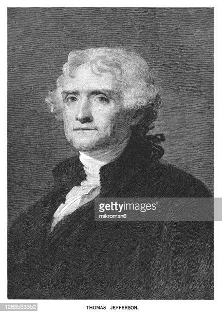 portrait of thomas jefferson, third president of the united states (1801 - 1809) - us president stock pictures, royalty-free photos & images