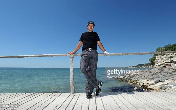 A portrait of Thorbjorn Olesen of Denmark during the pro am event prior to the Volvo World Match Play Championship at Thracian Cliffs Golf Beach...