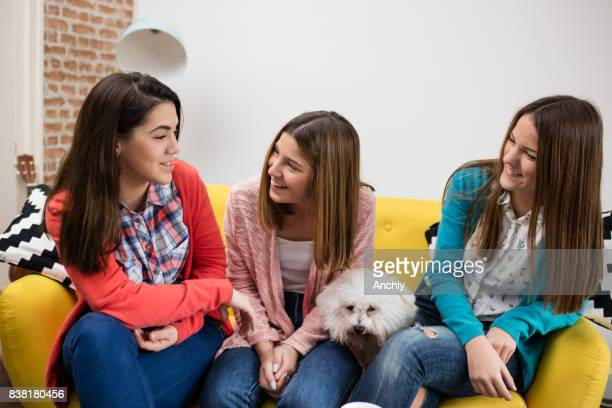 Portrait of three charming teenagers sitting on a couch with a dog