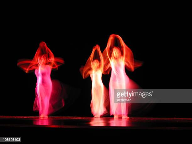 Portrait of Three Dancers on Stage, Motion Blur