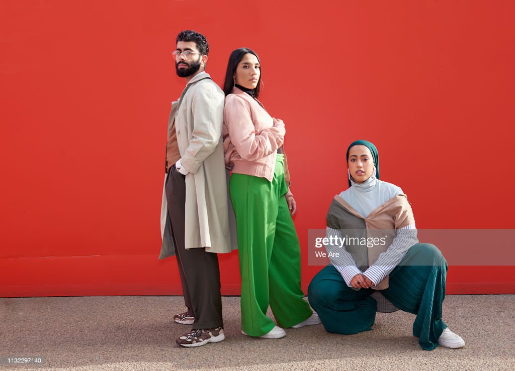 Portrait of three fashionable friends. : Stock Photo